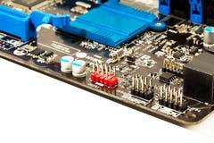Part of laptop motherboard closeup Stock Photos