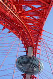 Part of large arched red bridge frame Royalty Free Stock Photography