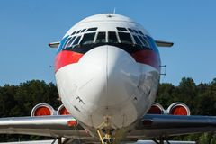 Part of large beautiful passenger airplanes stock images