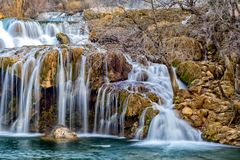 Skradinski buk, just the part. Part of the largest waterfall on river Krka, Skradinski buk. Photo is taken during sunset in spring of 2017 Stock Photos