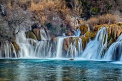 Skradinski buk in sunset. Part of the largest waterfall on river Krka, Skradinski buk. Photo is taken during sunset in spring of 2017 Royalty Free Stock Image
