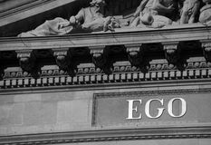 Detail of St. Stephen Basilica, Budapest, Hungary. Part of the Latin script placed on the facade of St. Stephen church in Budapest, Hungary Stock Image