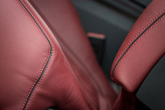 Part of leather car seat. Stock Photos