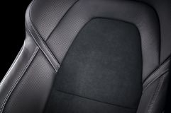 Part of  leather car seat details. Modern sport car  black leather interior. Part of  leather car seat details Stock Photo
