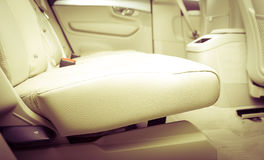 Part of  leather car seat details. Modern sport car  black leather interior. Part of  leather car seat details Stock Photos