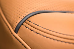 Part of leather car seat with stich. Stock Images