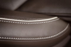 Part of leather car seat with stich. Stock Photo