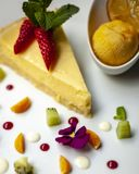 Part of lemon pie on the plate stock photos