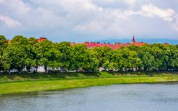 Part of the Linden alley on the embankment. Of river Uzh. beautiful sunny summer day in Uzhgorod town. travel destination concept Stock Photography