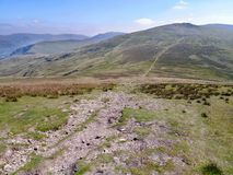 Part of long path between Stybarrow Dodd and Raise, Lake District Stock Image