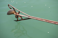Part of longtail boat on the sea of green Stock Photo