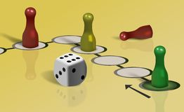 Part of ludo board game and dice Royalty Free Stock Images