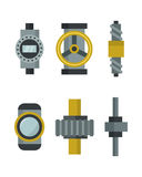 Part of machinery manufacturing work detail gear mechanical equipment industry vector illustration. Royalty Free Stock Images