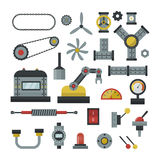 Part of machinery manufacturing work detail gear mechanical equipment industry vector illustration. Stock Image