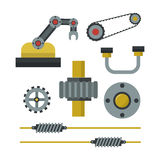Part of machinery manufacturing work detail gear mechanical equipment industry vector illustration. Stock Photos
