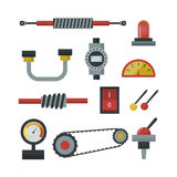 Part of machinery manufacturing work detail gear mechanical equipment industry vector illustration. stock illustration