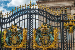 Part of main gates at Buckingham Palace in London. Buckingham Palace is official residence of British monarch Stock Images