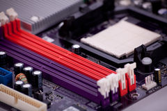 Part of a mainboard. A part of a mainboard, ram slots Royalty Free Stock Photo