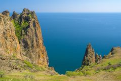 Part of majestic Karadag volcanic mountain range in Eastern Crimea, on a Black Sea shore. Mysterious part of majestic Karadag volcanic mountain range in Eastern Stock Images