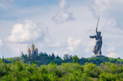 A part of Mamaev Kurgan and Motherland monument in Stalingrad February 23, May 9. Very honorable historical place in Russia Royalty Free Stock Photo