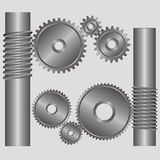 Part of the mechanism. Black-and-white gears and cores with a groove on a grey background stock illustration
