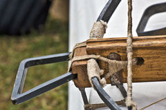 Part of medieval crossbow. Arming part and wooden support of medieval crossbow Stock Image