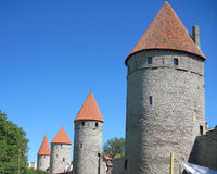 Part of medieval watchtowers of Tallinn. Fortification with medieval watchtowers of Tallinn Stock Image