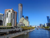 Part of Melbourne CBD and Yarra river Royalty Free Stock Photos
