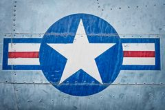 Military plane with star and stripe sign. stock photo
