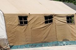Part of a military tent. In summer stock images