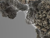 Part of mineral structure (rock), fragment of asteroid fractal Royalty Free Stock Images