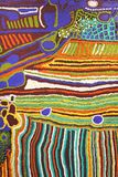 Part of a modern colorful Aboriginal artwork, Australia. Part of a modern colorful, abstract and native Aboriginal artwork with painted dots, Australia. Rainbow Royalty Free Stock Photos