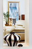 Part of modern art deco style drawing-room. Interior with striped vase. Shot is made with tilt-and-shift lens and has diagonal focus plane and extremely shallow Royalty Free Stock Photos