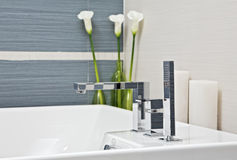 Part of modern bathroom in blue and gray tones Stock Image