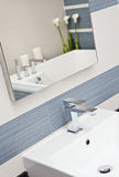 Part of modern bathroom in blue and gray tones Stock Images