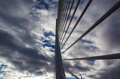 Part modern bridge Valencia on sunset sky. Spain. Stock Images