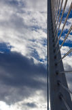Part modern bridge Valencia on sunset sky. Spain. Royalty Free Stock Image