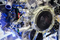 Part of Modern car hybrid engine. With illustration Power control unit Royalty Free Stock Image