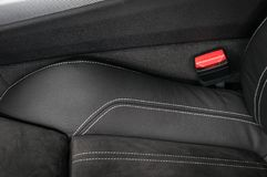 Part of modern car leather seat. Interior detail Royalty Free Stock Photo