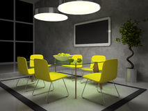 Part of the modern drawing room. In the evening 3D Royalty Free Stock Photography
