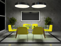 Part of the modern drawing room. In the evening 3D Royalty Free Stock Images