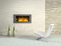 Part of the modern interior. With fireplace 3D rendering Stock Images