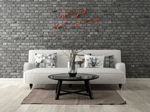 Part of modern interior design 3D rendering Royalty Free Stock Images