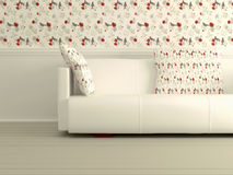 Part of the modern interior with white sofa Stock Photos