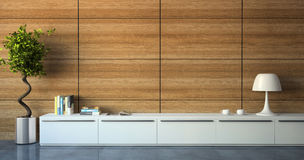Part of modern interior with wood wall Royalty Free Stock Photography