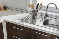 Part of modern kitchen sink with drawers and handles.  Stock Photography