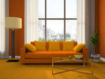 Part of the modern living-room. 3D rendering Stock Photography