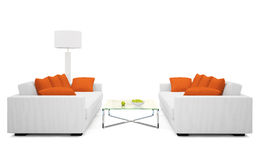 Part of the modern living-room. On white background 3D rendering Stock Images