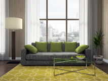 Part of the modern living-room. 3D rendering Royalty Free Stock Photography