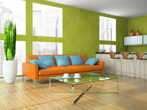 Part of the modern living-room. In green colour 3D rendering Stock Photo